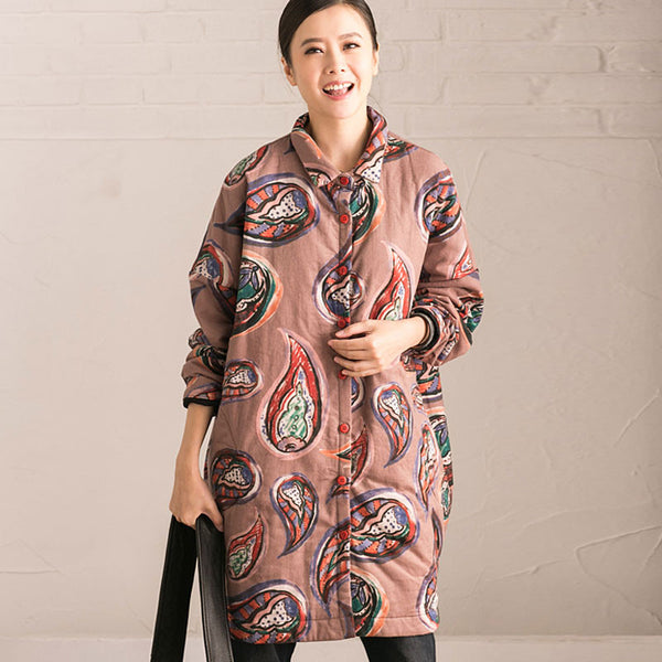 Winter Printing Loose Thickening Light Brown Cotton Blouse