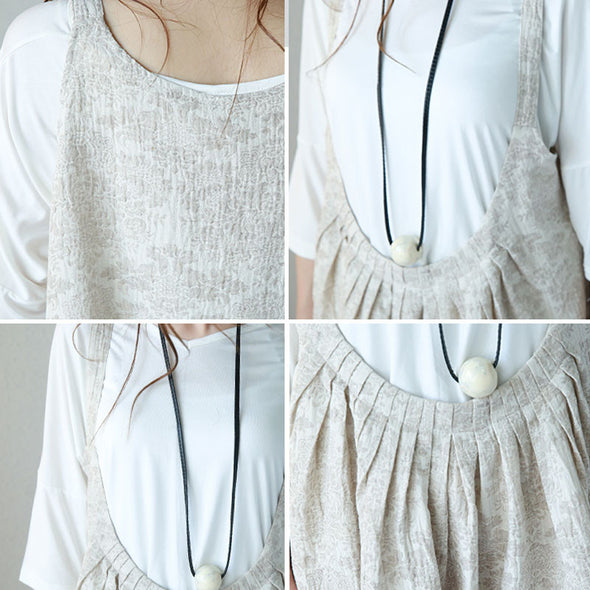 Linen Casual Soft Women Suspender Dress - Buykud