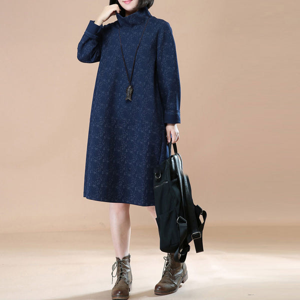 Retro Thick Turtle Neck Long Sleeves Navy Blue Winter Women Dress - Buykud