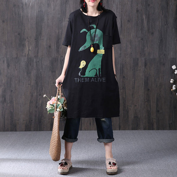 Black Women Loose Printing Pocket Cotton Dress