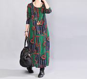 Casual Loose Printed Cotton Long Sleeve Red Dress