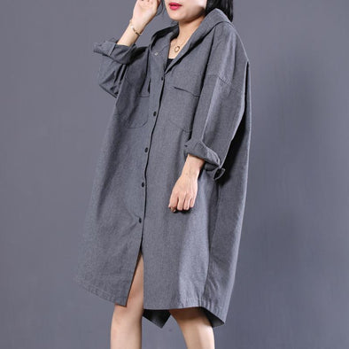 Loose Lady's Fall Knee-Length Cotton Gray Leisure Shirt Dress