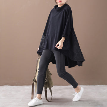 PLUS Size-Casual Pleated Patchwork Irregular Hem Loose Sweatshirt