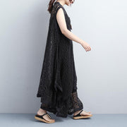 Black Plain Loose Casual Wide Leg Pants