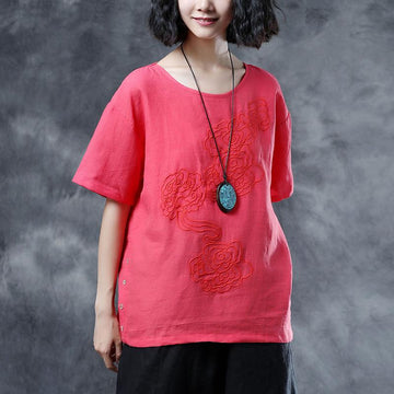 Casual Summer Short Sleeve Embroidery Red T-shirt