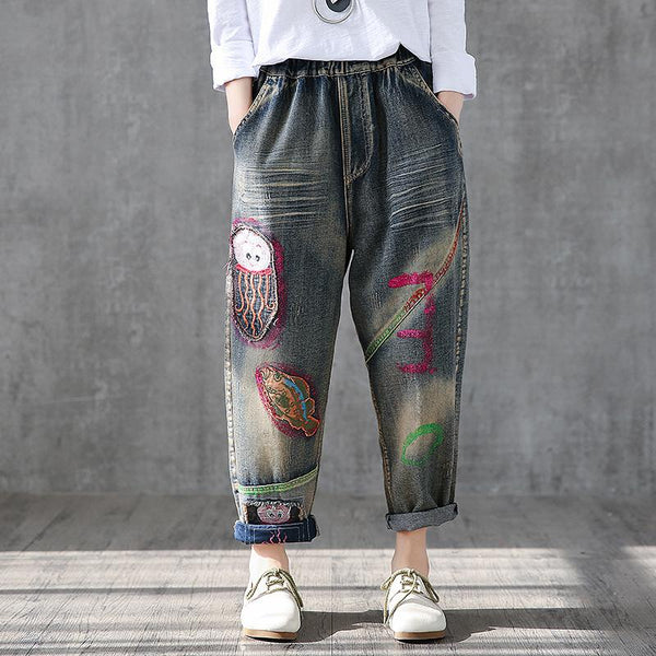 Cute Patchwork And Embroidery High Waist Jeans