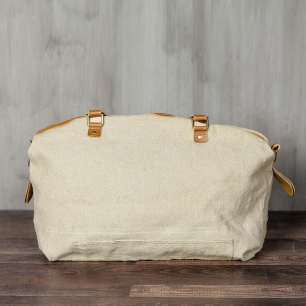 Canvas Large Capacity Beige Travel Bag Shoulder Bag
