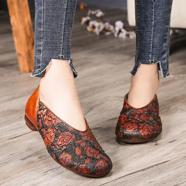 Casual Embossing Low Heel Women's Shoes