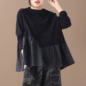 Buykud Casual Pleated Spliced Long Sleeve Sweatshirt