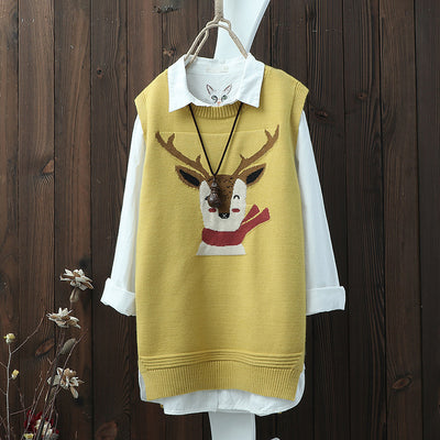 Sleeveless Split Pullover Cartoon Print Women Sweater
