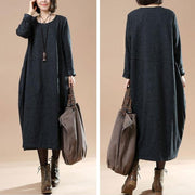 Autumn Large Size Women's Long Sleeve Wool Dark Gray Dress