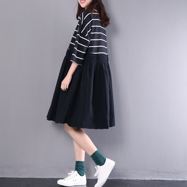 Cotton Women Splicing Stripe Casual Dress - Buykud