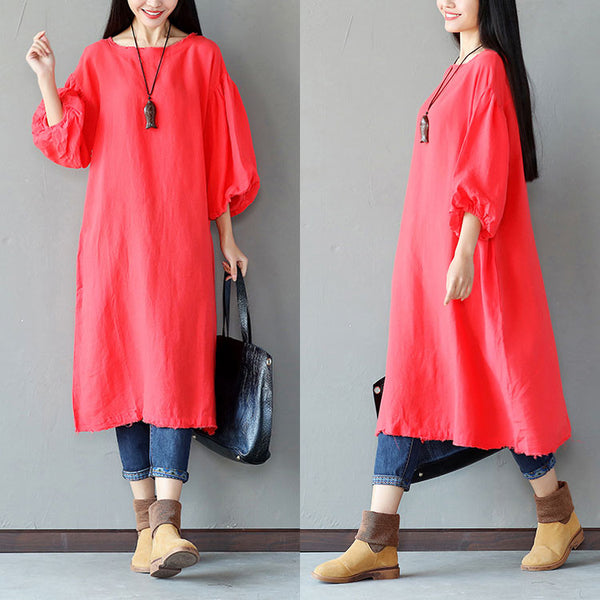 Loose Women Linen Casual Cotton Red Dress - Buykud