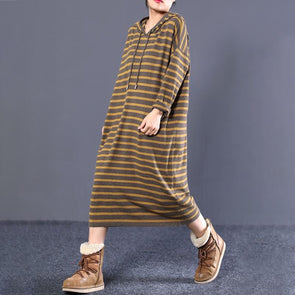 Women Fall Cotton Long Sleeve Hooded Sweater Dress