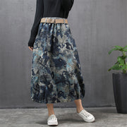 Buykud Literary Abstract Printed Casual Loose Skirt