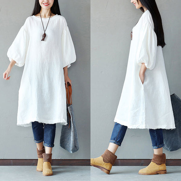Loose Women Linen Casual Cotton White Dress - Buykud