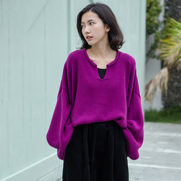 Buykud Simple Solid Color V-neck Ultra-loose Sweater