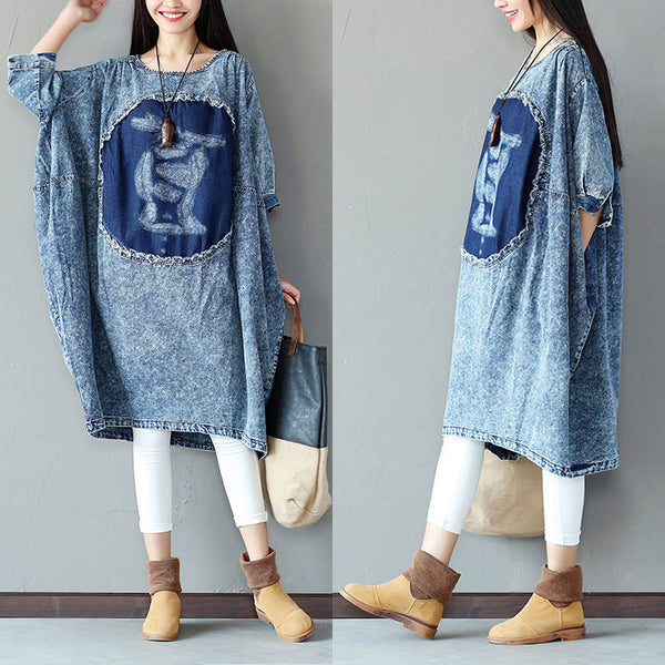 Irregular Cotton Women Loose Splicing Casual Dress