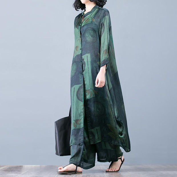 Casual Printing Loose Shirt And Wide Leg Pants Suit