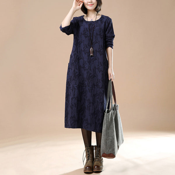 Blue Cotton Linen Casual Long Sleeve Dress - Buykud