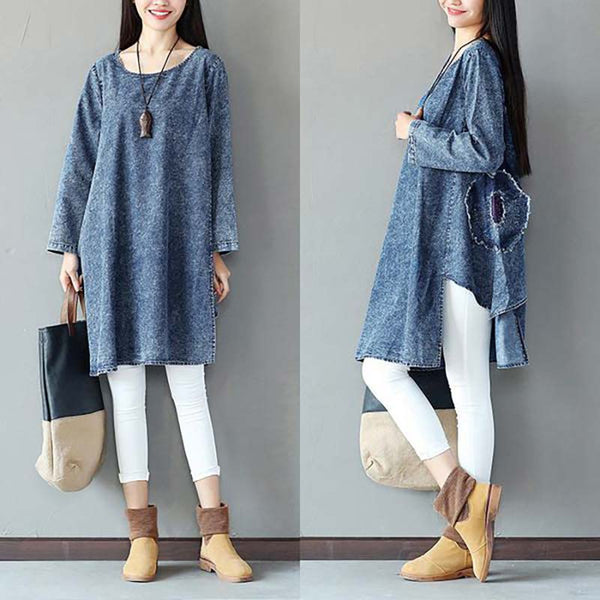 Women Casual Round Neck Long Sleeve Denim Shirt Dress - Buykud