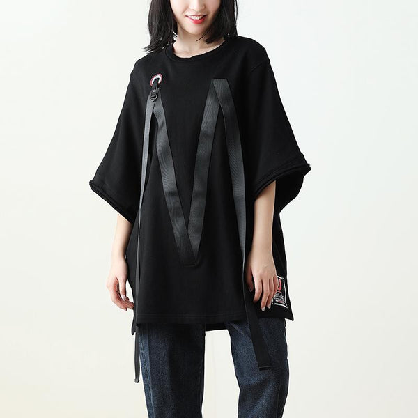 Black Cool Half Sleeve Loose Chic Top