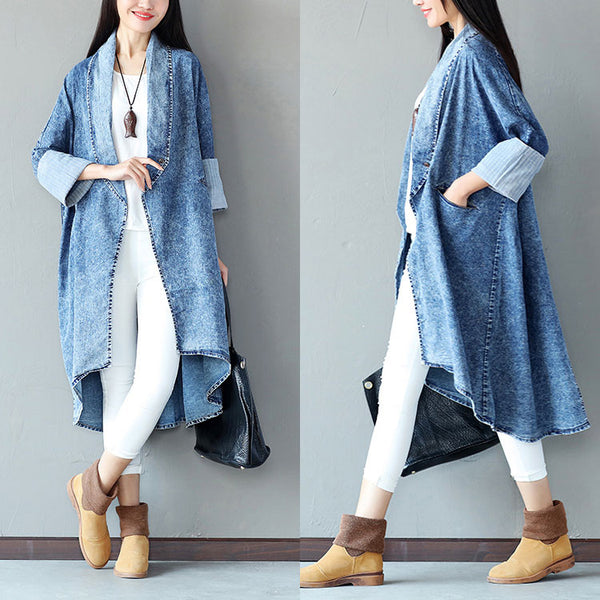 Irregular Cotton Women Loose Pocket Casual Coat