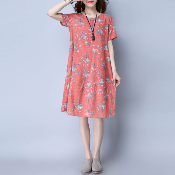 Floral Casual Women Cotton Loose Orange Dress - Buykud