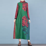 Buykud Fashion Turtleneck Floral Printed Warm Dress