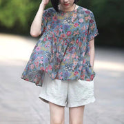 Chiffon Floral Round Neck Short Sleeve Blouse