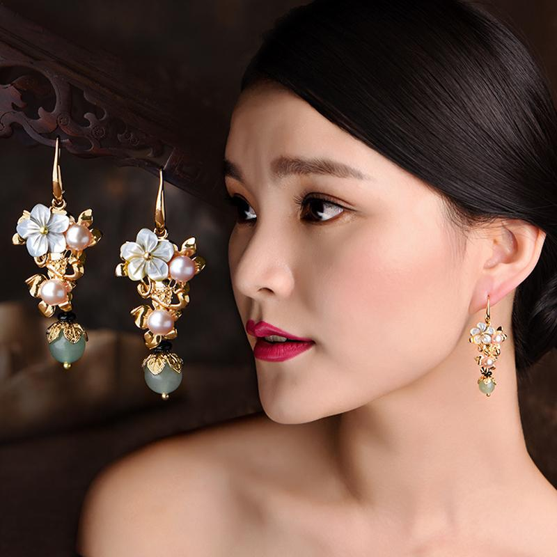 Ethnic Gold Plated Long Eardrop Earrings
