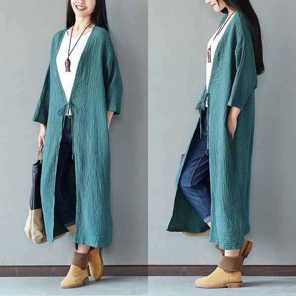 Embroidered Loose Women Casual Cotton Folded Green Coat - Buykud