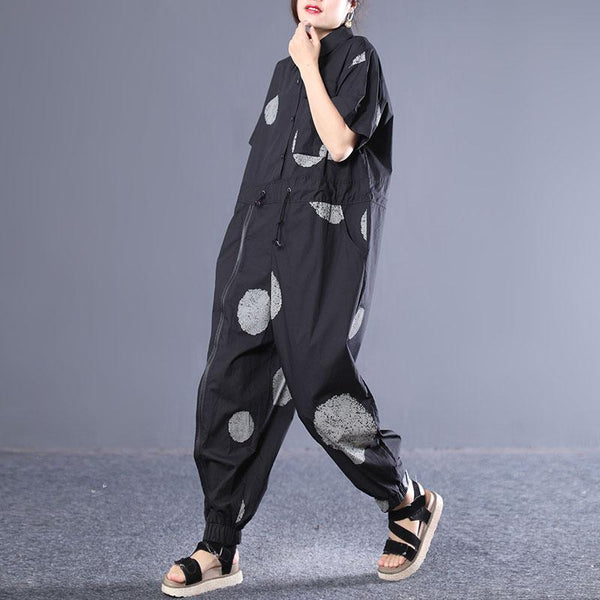 Casual Cotton Short Sleeve Print Overalls