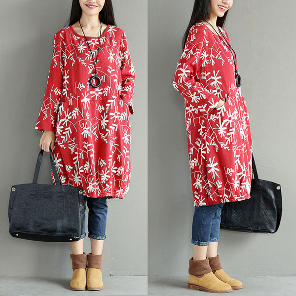 Spring Embroidered Round Neck Women Red Dress