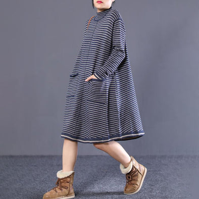 Women Fall Cotton Long Sleeve Striped Sweater Dress