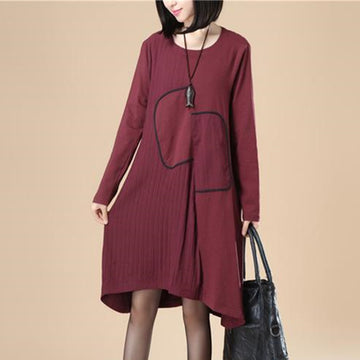 Women Lattice Stripe Splicing Long Sleeves Wine Red Dress - Buykud