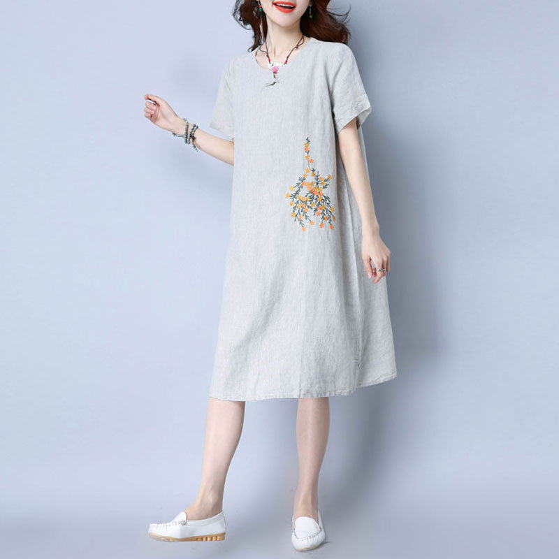 Round Neck Retro Frog Linen Women Gray Dress - Buykud