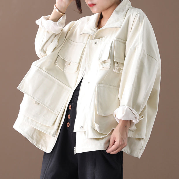Buykud Casual Pure Color Loose Zipper Jacket