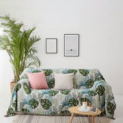 Leaves Print Tassel Sofa Cover Cotton Polyester Blanket