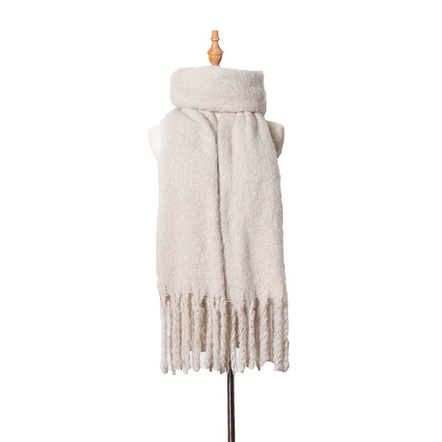 Polyester Women Tassel Winter Casual Warming Scarf