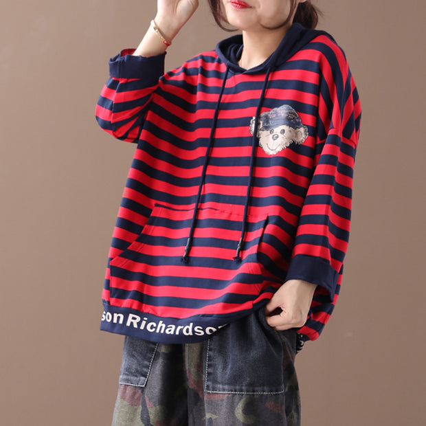 Buykud Cartoon Animal And Striped Casual Loose Hoodie