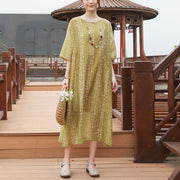 Loose Round Neck Half Sleeve Casual Yellow Dress - Buykud