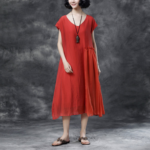 Summer Sleeveless Lacing Pleated Casual Long Dress