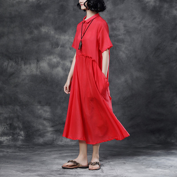 Summer Short Sleeve Polo Neck Red Casual Dress