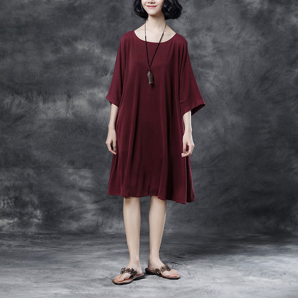 Summer Short Sleeve Pockets Wine Red Casual Dress