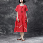 Summer Short Sleeve Pockets White Pockets Casual Cotton Dress