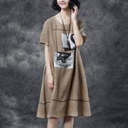 Summer Short Sleeve Pockets Casual Khaki Dress