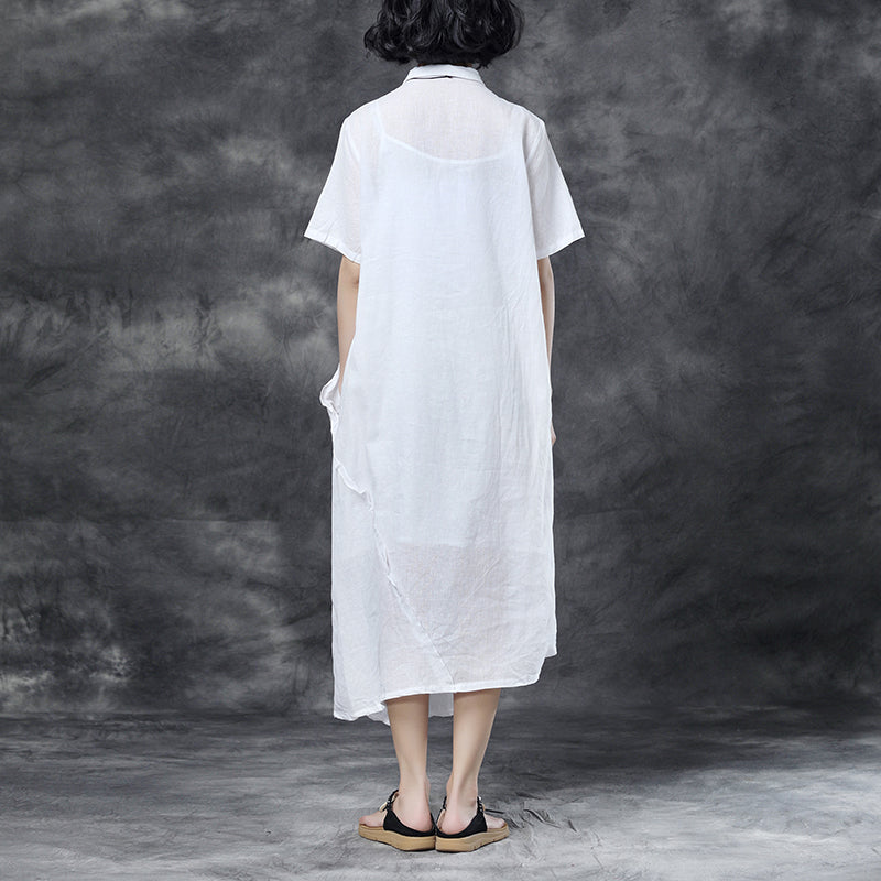 Summer Short Sleeve Polo Neck White Casual Dress