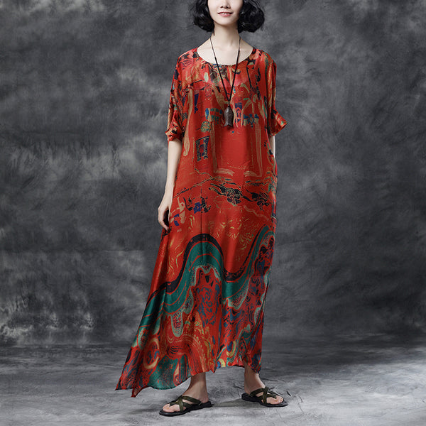 Summer Short Sleeve Red Floral Casual Long Dress