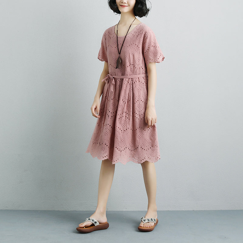 Summer Short Sleeve Lacing Pleated Pink Casual Dress